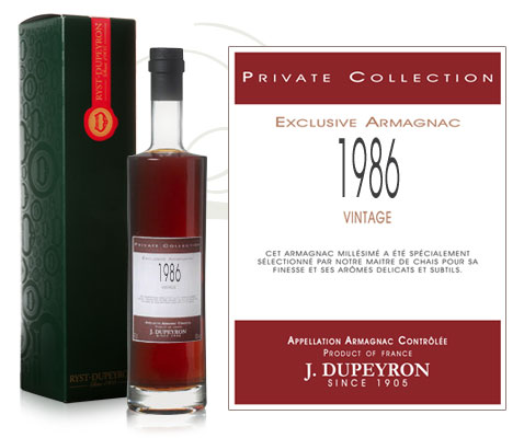 Armagnac Dupeyron Private Collection millésime 1986